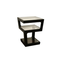 Wholesale Interiors CT-089B-BLACK Clara Black Modern Tall 3-Tiered End Table