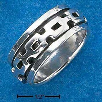 Sterling Silver Ring:  Mens Worry Ring With Square Link Spinning Band