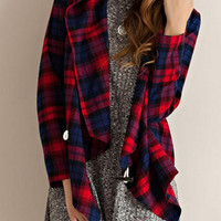 Red Contrast Check Print Asymmetric Hooded Coat
