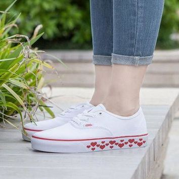 ICIKGV7 Design For Valentine's Day Vans AUTHENTIC White Sneaker Leisure Shoes