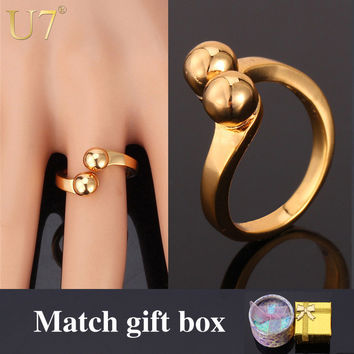 U7 Unique Simple Design Gold Ring Stamp '18K' Real Gold Plated Party Jewelry Trendy Round Wedding Band Ring For Women Box R355