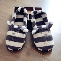FunShop Women's Dog Pattern Indoor Slipper in Stripes D1126