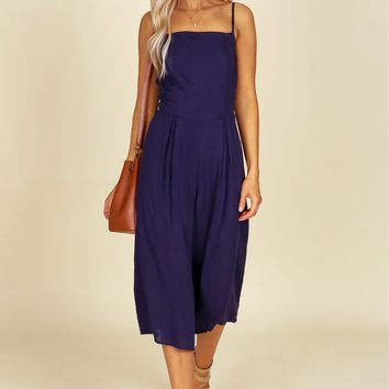 Wide Leg Culotte Jumpsuit Navy
