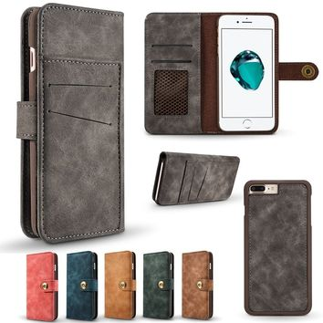 Magnetic Flip Practical PU Leather Wallet Case For iPhone X 5 5s SE 6 6s 6Plus 6sPlus 7 7Plus 8 8Plus/Samsung Galaxy S7 S7Edge S