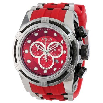 Invicta 14402 Men's Bolt Zeus Chronograph Red Dial Steel & Red Rubber Strap Dive Watch