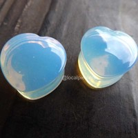 "Opalite Heart Plugs 0g 00g Opal Natural Stone Plug Saddle Double Flared Gauge 2g Pair Moon Stone 1/2"" Piercing Stretched Earlobe Jewelry 