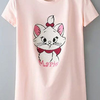 Pink Cat Pattern Short Sleeve T-shirt