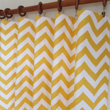 "Pair of 25"" wide cornmeal yellow and white chevron zig zag panels, drapes, curtains - can add grommets/lining 25x63"" 25x84"" 25x96"" 25x108"""