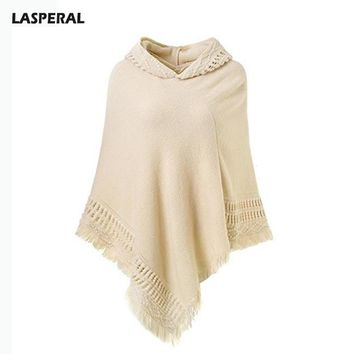 Autumn Winter Warm Hooded Poncho Sweater Women Casual Loose Solid Knitted Tassel Poncho Shawls Jumpers