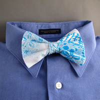Lace Bow Tie in Turquoise