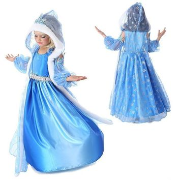 Cool Christmas Anna Elsa Princess Girls 3pcs Dress Sets Cosplay Party Costume Dress Baby Snow Queen Children Clothing Kids DressesAT_93_12