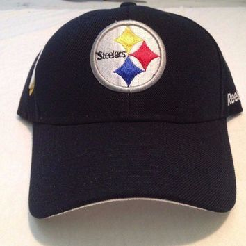 ONETOW BRAND NEW PITTSTBURGH STEELERS AFC NORTH STRIPED OSFA ADJUSTABLE BLACK HAT