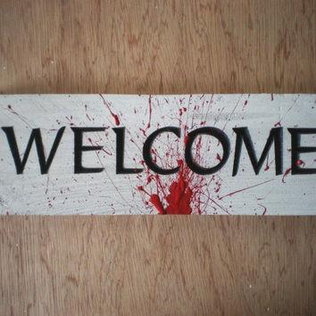 Halloween Welcome Sign, Carved Lettering