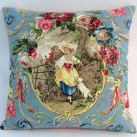 """Fragonard Cameo Toile Pillow, Richloom Cornflower Blue, Lady w/ Dog, 17"""" Sq. Hot Pink Ticking Stripe, Discontinued French Country Fabric"""
