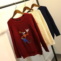 Winter Women's Fashion Cartoons Embroidery Sweater [6512974727]