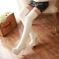 Fashion Women's Over The Knee High Boots Round Toe Thick High Heels Long Boots Solid Ladies Platform Shoes For Spring Autumn