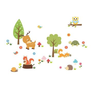 Cute Animals Wall Sticker Zoo Tiger Owl Turtle Tree Forest Vinyl Art Wall Quote Stickers Colorful PVC Decal Kid Baby Room 2016