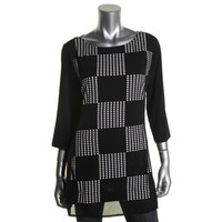 Style & Co. Womens Petites Checkered Tunic Blouse