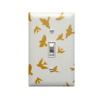 White and Gold Flock of Birds Light Switch Plate Cover / Baby Girl Glitz Nursery Decor  / Teen Tween Girls Room / Waterfront Park Flight