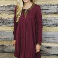 Maroon Tie-Neck Long Sleeve Dress