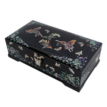 Mother of Pearl Inlay Butterfly Flower Lacquer Wood Mirror Black Jewelry Trinket Keepsake Treasure Display Box Case Holder Chest