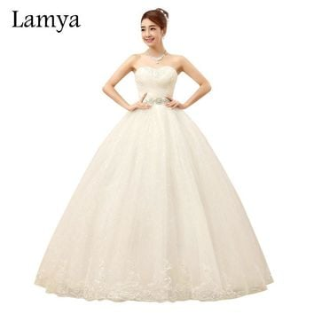 Lamya Sexy Crystal Sashes Wedding Dress 2017 Cusomized Lace Up Sweetheart Bride Gown Pleat Top Design Princess Party Dress