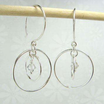 Orbit Silver Earrings with Crystal