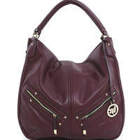 Front Zipper Hobo in Purple