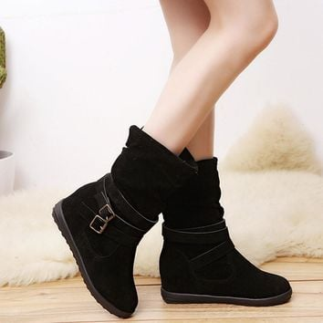 HOT Sale ,AIMTOPPY Ladies Womens Low Wedge Buckle Biker Ankle Trim Flat Ankle Boots Shoes (US:7, Black)