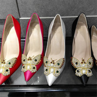 Summer Rhinestone Pearls Butterfly Leather Pointed Toe High Heel Shoes [4919872132]