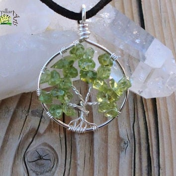 Peridot Tree of Life Necklace - Made to Order - Silver Plated Copper