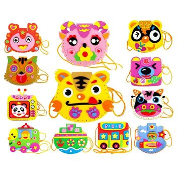 EVA DIY Bags Cute Flower Style Bag Handmade Crafts Cartoon Sewing Backpacks Baby Kids Creative Funny Toys for Photo Frame
