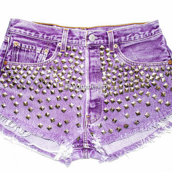 Studded Shorts, High Waisted Studded Vintage Denim Shorts, High Rised Frayed Denim Shorts, Fashion, Purple Denim Shorts