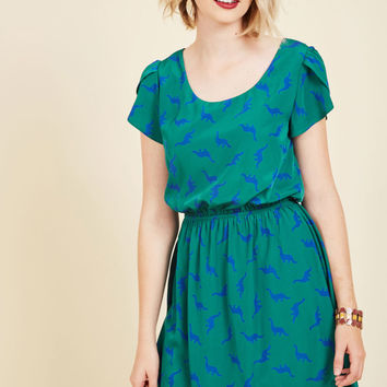 Oh My Gosh A-Line Dress in Pine Dinos | Mod Retro Vintage Dresses | ModCloth.com
