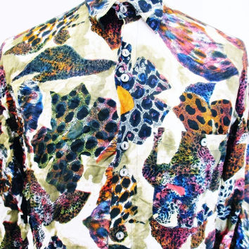 Vintage 90s Shirt AMAZING Urban Renewal Outfitters Crazy Pattern Outsized Large