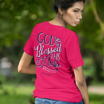 Cherished Girl God Blessed this Mess Girlie Christian Bright T Shirt