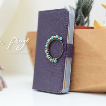 apple iPhone 5 case , iPhone 5s case violet purple PV leather case with brass and turquoise beads