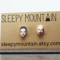 Jesse Pinkman and Walter White Studs Set - Breaking Bad Aaron Paul Bryan Cranston Earrings
