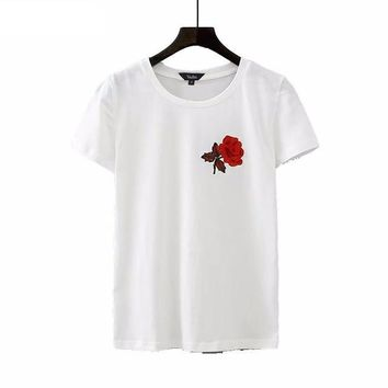 Flower embroidery slim fit casual applique tops