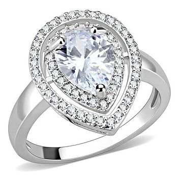 A Perfect 3CT Pear Cut Double Halo Russian Lab Diamond Engagement Ring