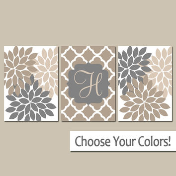 Tan Gray Wall Art, Monogram Family Name, Tan Bedroom Pictures, Tan Bathroom Artwork, CANVAS or Prints Set of 3 Wedding Gift, Home Decor