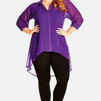 Plus Size Women's City Chic Open Back High/Low Tunic Shirt