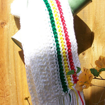 Handmade Crochet White Scarf With Afro Colors in Acrylic Yarn