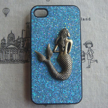 Steampunk Mermaid Blue bling glitter hard case For Apple iPhone 4 case iPhone 4s case cover