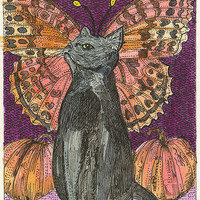 Black Cat and Pumpkins Halloween ACEO Signed Limited Edition Print
