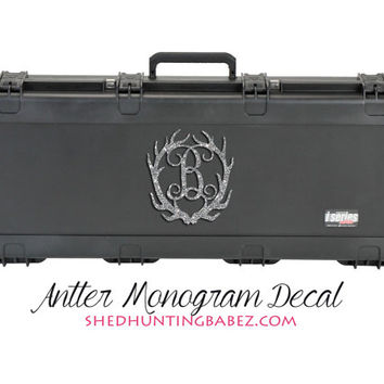 Personalized Glitter Deer Antler Monogram Decal Large Bow Case