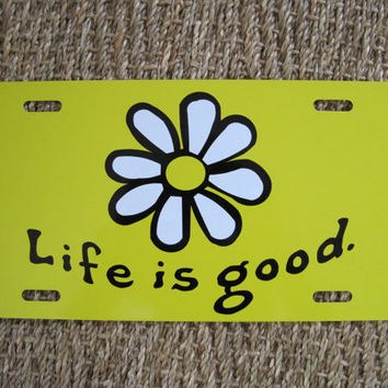 Life is Good License Plate - Yellow
