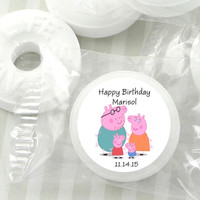 Peppa Pig Mint Hershey Kiss Labels Personalized Favors