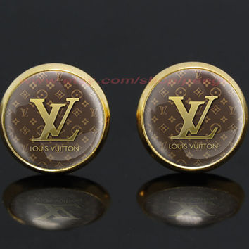 Louis Vuitton logo LV gold plated stud post earrings,girlfriend gift Bridesmaid Gift
