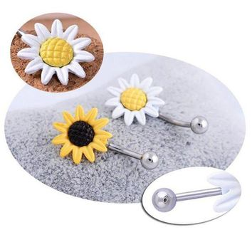 ac DCCKO2Q Fashion Belly Button Barbell Ring Navel Piercing Women Body Jewelry Shining Sunflower Flower Bar 2 Colors White Yellow